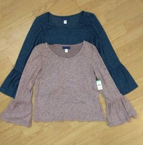Two tops NWT bell sleeve
